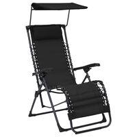 vidaXL Folding Deck Chair Textilene Black
