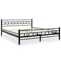 vidaXL Bed Frame Black Metal 153x203 cm
