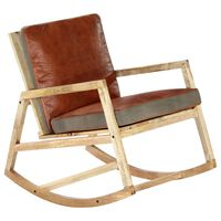 vidaXL Rocking Chair Brown Real Leather and Solid Mango Wood