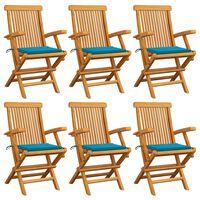 vidaXL Garden Chairs with Blue Cushions 6 pcs Solid Teak Wood