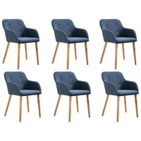 vidaXL Dining Chairs 6 pcs Blue Fabric and Solid Oak Wood