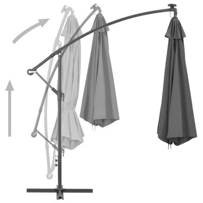 vidaXL Cantilever Umbrella with LED Lights and Metal Pole 350 cm Anthracite