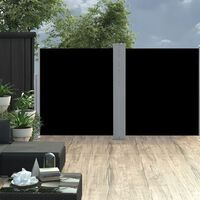 vidaXL Retractable Side Awning Black 160x600 cm