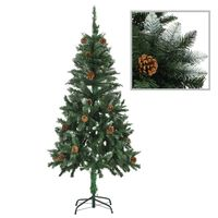 vidaXL Artificial Christmas Tree with Pine Cones and White Glitter 150 cm