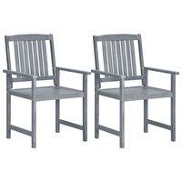 vidaXL Garden Chairs 2 pcs Grey Solid Acacia Wood