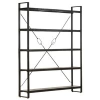 vidaXL 5-Tier Bookcase Black 140x30x180 cm Solid Mango Wood
