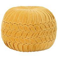 vidaXL Pouffe Cotton Velvet Smock Design 40x30 cm Yellow