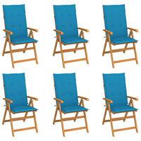 vidaXL Garden Chairs 6 pcs with Blue Cushions Solid Teak Wood