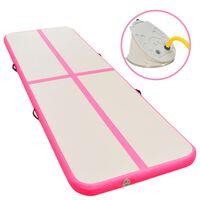 vidaXL Inflatable Gymnastics Mat with Pump 400x100x10 cm PVC Pink