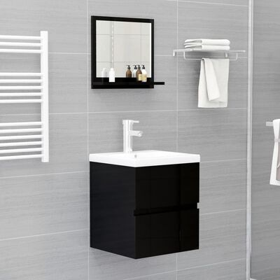 vidaXL Bathroom Mirror High Gloss Black 40x10.5x37 cm Chipboard