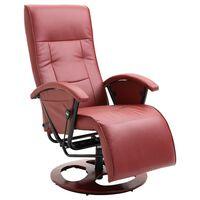 vidaXL Swivel TV Armchair Wine Red Faux Leather
