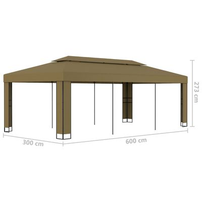vidaXL Gazebo with Double Roof 3x6 m Taupe 180 g/m²
