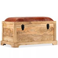 vidaXL Storage Bench Genuine Leather and Solid Mango Wood 80x44x44 cm
