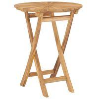 vidaXL Folding Garden Table Ø 60 cm Solid Teak Wood