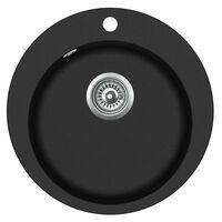 vidaXL Granite Kitchen Sink Single Basin Round Black
