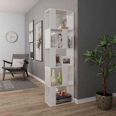 vidaXL Book Cabinet/Room Divider High Gloss White 45x24x159 cm Chipboard