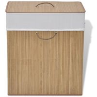 vidaXL Bamboo Laundry Bin Rectangular Natural