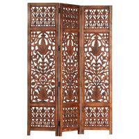 vidaXL Hand Carved 3-Panel Room Divider Brown 120x165 cm Solid Mango Wood