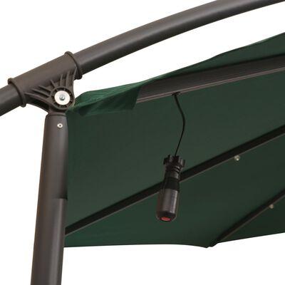 vidaXL Hanging Parasol with LED Lighting 300 cm Green Metal Pole