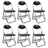 vidaXL Folding Dining Chairs 6 pcs Black Faux Leather and Steel