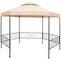 vidaXL Garden Marquee Gazebo Pavilion Tent Hexagonal Beige 323x265 cm