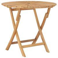 vidaXL Folding Garden Table Ø 85 cm Solid Teak Wood