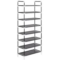 vidaXL Shoe Rack with 8 Shelves Metal and Non-woven Fabric Black