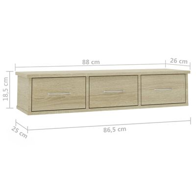 vidaXL Wall-mounted Drawer Shelf Sonoma Oak 88x26x18.5 cm Chipboard, Sonomaoak