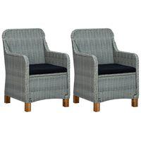 vidaXL Garden Chairs with Cushions 2 pcs Poly Rattan Light Grey