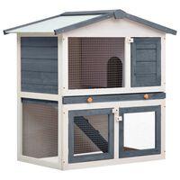 vidaXL Outdoor Rabbit Hutch 3 Doors Grey Wood