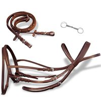 vidaXL Leather Flash Bridle with Reins and Bit Brown Full