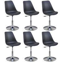 vidaXL Swivel Dining Chairs 6 pcs Black Faux Leather