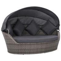 vidaXL Garden Bed with Canopy Grey 200x120 cm Poly Rattan