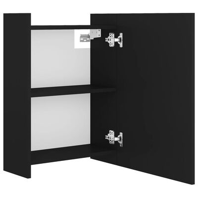 vidaXL Bathroom Mirror Cabinet Black 62.5x20.5x64 cm Chipboard