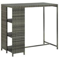 vidaXL Bar Table with Storage Rack Grey 120x60x110 cm Poly Rattan