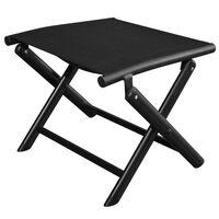 vidaXL Folding Footstool Black Aluminium and Textilene