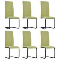 vidaXL Cantilever Dining Chairs 6 pcs Green Fabric