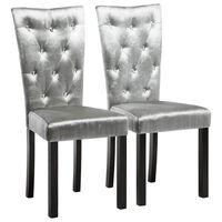 vidaXL Dining Chairs 2 pcs Silver Velvet