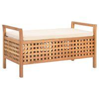 vidaXL Storage Bench 93x49x49 cm Solid Walnut Wood