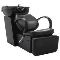 vidaXL Salon Shampoo Chair with Washbasin Black Faux Leather