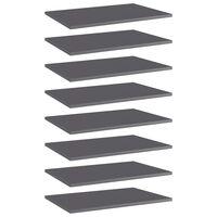 vidaXL Bookshelf Boards 8 pcs High Gloss Grey 60x40x1.5 cm Chipboard