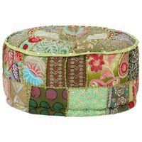 vidaXL Patchwork Pouffe Round Cotton Handmade 40x20 cm Green