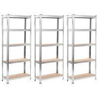 vidaXL Storage Shelves 3 pcs Silver 75x30x172 cm Steel and MDF