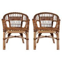 vidaXL Outdoor Chairs 2 pcs Natural Rattan Brown