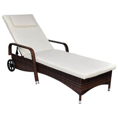 vidaXL Sun Lounger with Cushion & Wheels Poly Rattan Brown