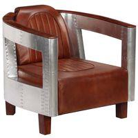 vidaXL Aviator Armchair Brown Real Leather