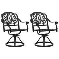 vidaXL Swivel Garden Chairs 2 pcs Cast Aluminium Black