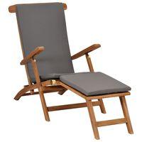 vidaXL Deck Chair with Cushion Dark Grey Solid Teak Wood