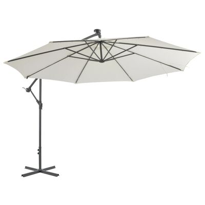 vidaXL Cantilever Umbrella with LED Lights and Metal Pole 350 cm Sand