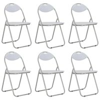 vidaXL Folding Dining Chairs 6 pcs White Faux Leather
